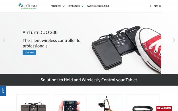 Screenshot of AirTurn website