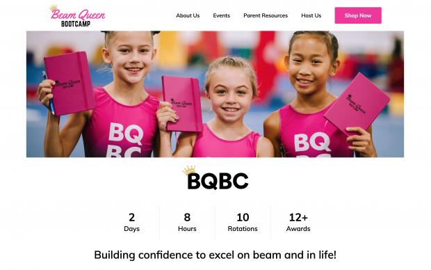 Screenshot of Beam Queen Bootcamp website