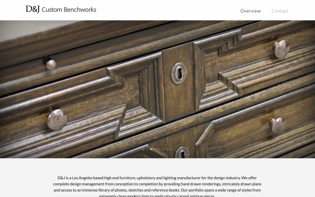 Screenshot of D&J Custom Benchworks website