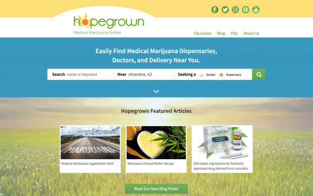 Screenshot of Hopegrown website