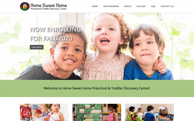 Screenshot of Home Sweet Home Preschool website